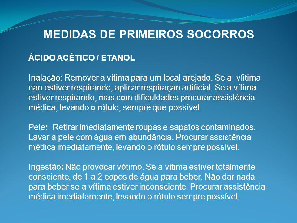 MEDIDAS DE PRIMEIROS SOCORROS ÁCIDO ACÉTICO / ETANOL Inalação: Remover a vítima para um local arejado. Se a víitima não estiver respirando, aplicar re