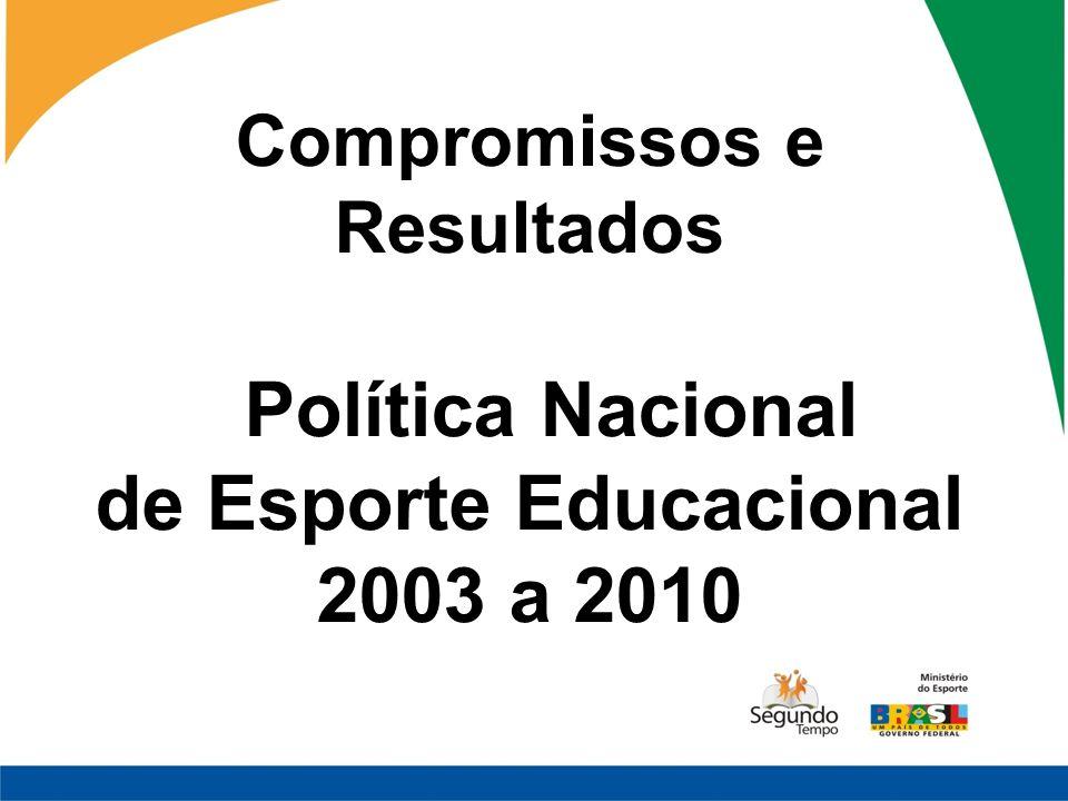 Compromissos e Resultados Política Nacional de Esporte Educacional 2003 a 2010