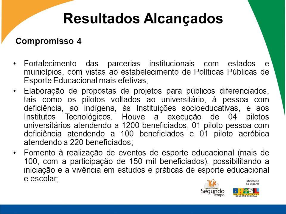 Compromisso 4 Fortalecimento das parcerias institucionais com estados e municípios, com vistas ao estabelecimento de Políticas Públicas de Esporte Edu