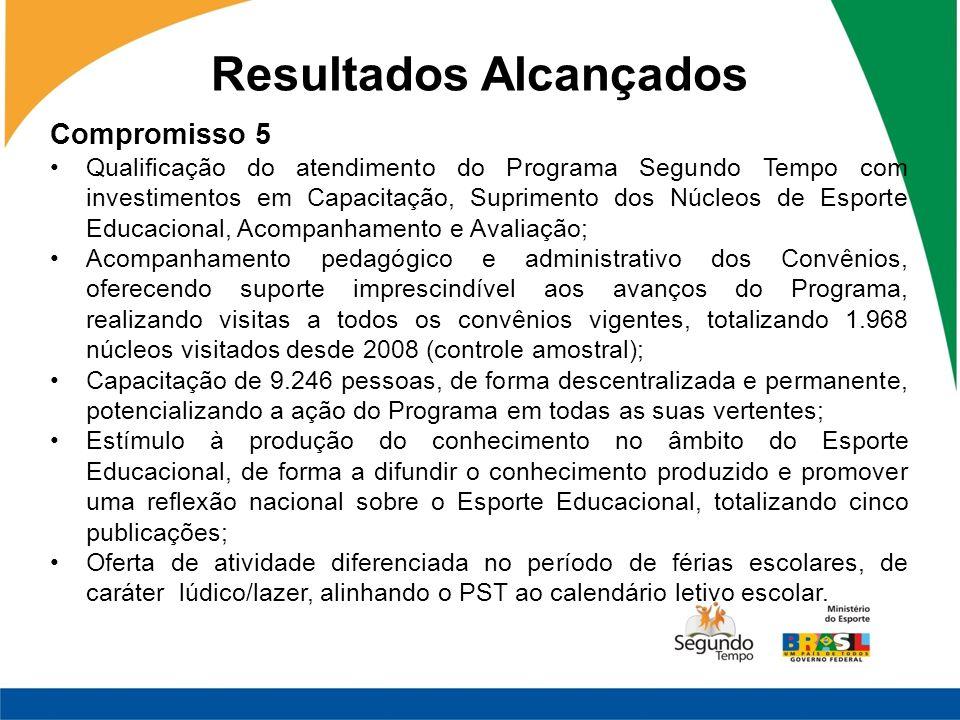 Resultados Alcançados Compromisso 5 Qualificação do atendimento do Programa Segundo Tempo com investimentos em Capacitação, Suprimento dos Núcleos de