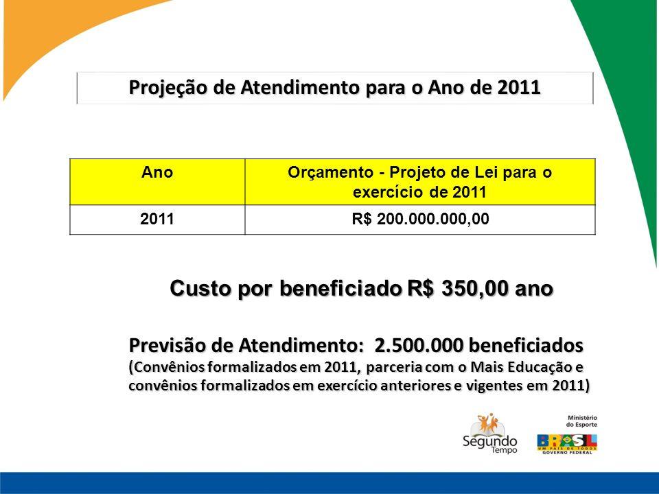 Projeção de Atendimento para o Ano de 2011 AnoOrçamento - Projeto de Lei para o exercício de 2011 2011R$ 200.000.000,00 Custo por beneficiado R$ 350,0