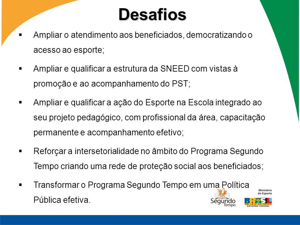 Ampliar o atendimento aos beneficiados, democratizando o acesso ao esporte; Ampliar e qualificar a estrutura da SNEED com vistas à promoção e ao acomp