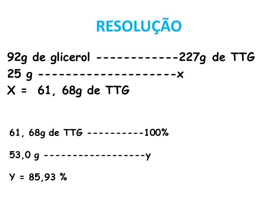 RESOLUÇÃO 92g de glicerol ------------227g de TTG 25 g --------------------x X = 61, 68g de TTG 61, 68g de TTG ----------100% 53,0 g -----------------