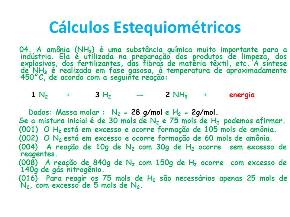 RESOLUÇÃO (001) 1 mols N 2 ------------ 3 mols H 2 30 mols ----------------x X= 90 mols de H 2 Como não temos essa quantidade de H 2 na mistura, ele não está em excesso.