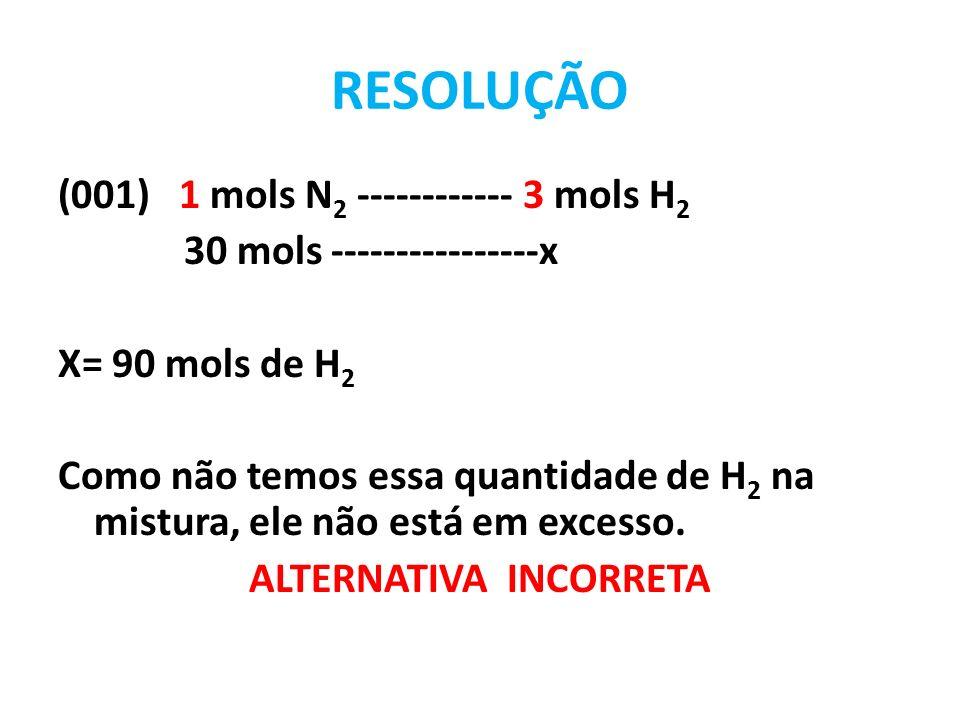 RESOLUÇÃO (002) 1 mols N 2 ------------ 3 mols H 2 x---------------75 mols de H 2 X = 25 mols de N 2 Como na mistura temos 30 mols de N 2, ocorre o excesso de 5 mols de N 2 1 mols N 2 ------------ 2 mols NH 3 25 mols --------------- y y = 50 mols de NH 3 ALTERNATIVA INCORRETA FORMAM APENAS 50 MOLS DE NH 3