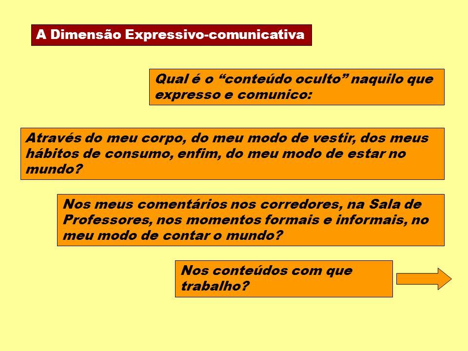 A Dimensão Expressivo-comunicativa Qual é o conteúdo oculto naquilo que expresso e comunico: Nos meus comentários nos corredores, na Sala de Professores, nos momentos formais e informais, no meu modo de contar o mundo.