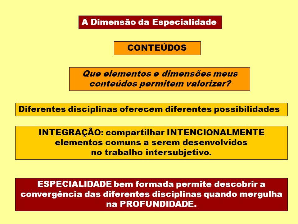 A Dimensão da Especialidade CONTEÚDOS Que elementos e dimensões meus conteúdos permitem valorizar.