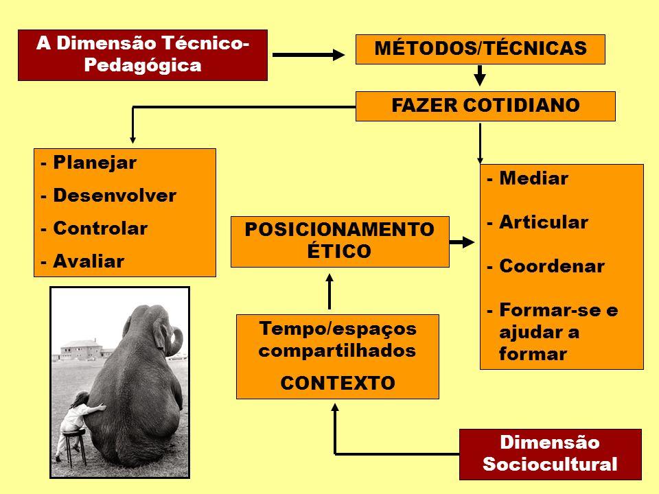 A Dimensão Técnico- Pedagógica MÉTODOS/TÉCNICAS FAZER COTIDIANO - Planejar - Desenvolver - Controlar - Avaliar Tempo/espaços compartilhados CONTEXTO Dimensão Sociocultural POSICIONAMENTO ÉTICO - Mediar - Articular - Coordenar - Formar-se e ajudar a formar