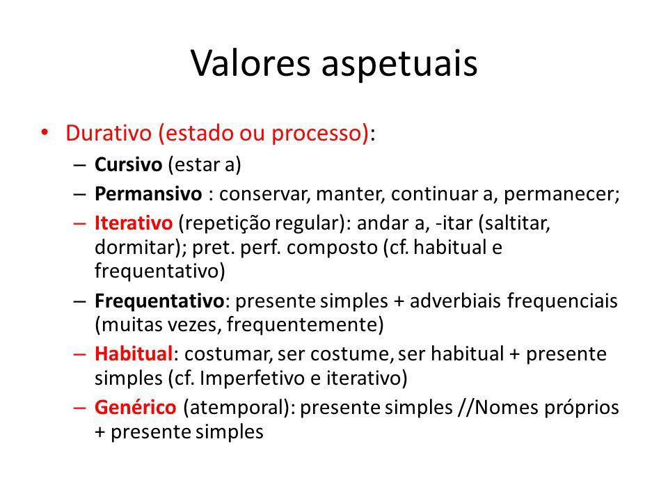 Valores aspetuais Durativo (estado ou processo): – Cursivo (estar a) – Permansivo : conservar, manter, continuar a, permanecer; – Iterativo (repetição regular): andar a, -itar (saltitar, dormitar); pret.
