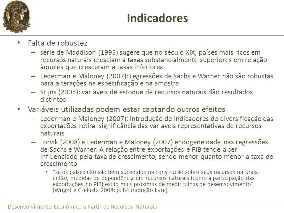 Desenvolvimento Econômico a Partir de Recursos Naturais Indicadores Falta de robustez – série de Maddison (1995) sugere que no século XIX, países mais