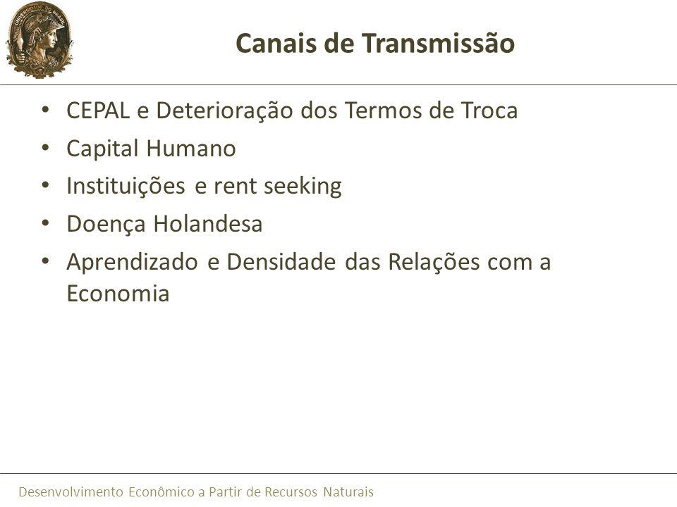 Desenvolvimento Econômico a Partir de Recursos Naturais Canais de Transmissão CEPAL e Deterioração dos Termos de Troca Capital Humano Instituições e r