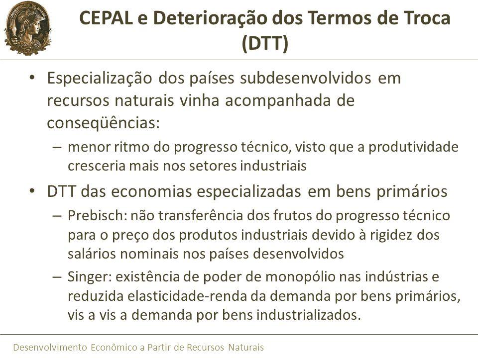 Desenvolvimento Econômico a Partir de Recursos Naturais CEPAL e Deterioração dos Termos de Troca (DTT) Especialização dos países subdesenvolvidos em r