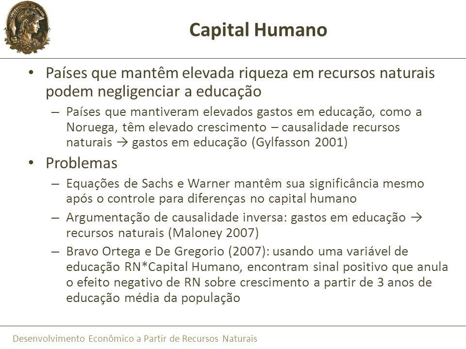 Desenvolvimento Econômico a Partir de Recursos Naturais Capital Humano Países que mantêm elevada riqueza em recursos naturais podem negligenciar a edu