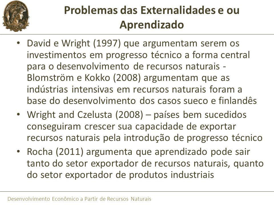 Desenvolvimento Econômico a Partir de Recursos Naturais Problemas das Externalidades e ou Aprendizado David e Wright (1997) que argumentam serem os in