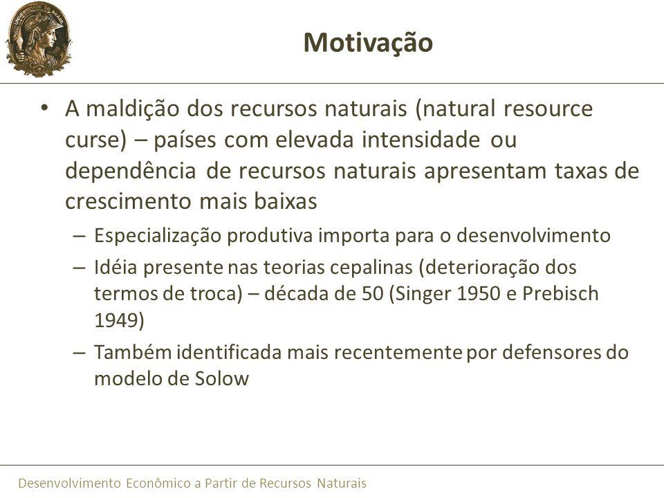 Desenvolvimento Econômico a Partir de Recursos Naturais Motivação A maldição dos recursos naturais (natural resource curse) – países com elevada inten