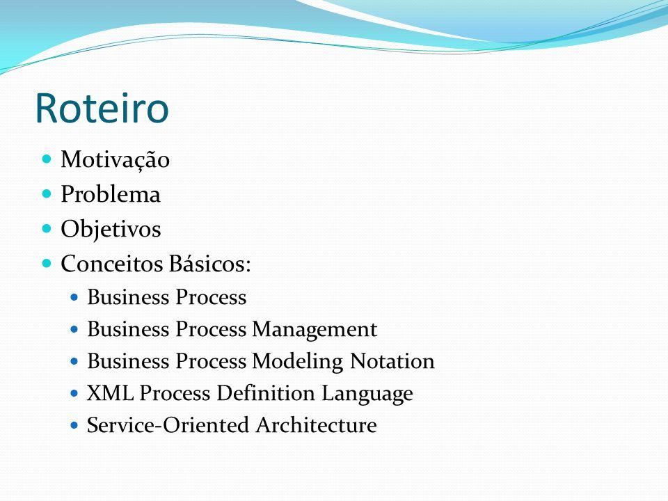 Roteiro Motivação Problema Objetivos Conceitos Básicos: Business Process Business Process Management Business Process Modeling Notation XML Process Definition Language Service-Oriented Architecture