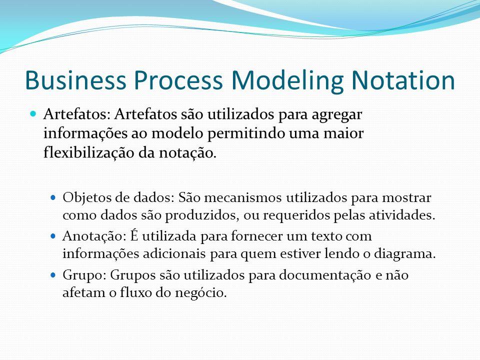 Artefatos: Artefatos são utilizados para agregar informações ao modelo permitindo uma maior flexibilização da notação. Objetos de dados: São mecanismo