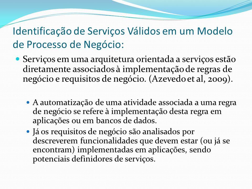 Identificação de Serviços Válidos em um Modelo de Processo de Negócio: Serviços em uma arquitetura orientada a serviços estão diretamente associados à