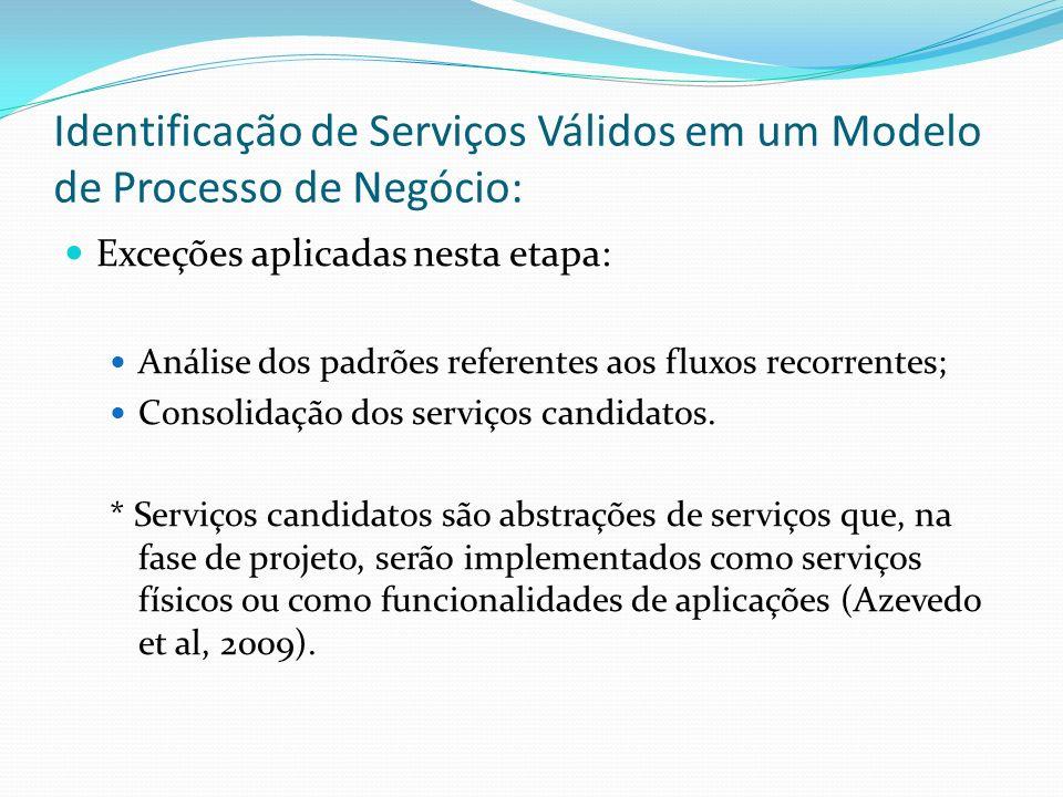 Identificação de Serviços Válidos em um Modelo de Processo de Negócio: Exceções aplicadas nesta etapa: Análise dos padrões referentes aos fluxos recor