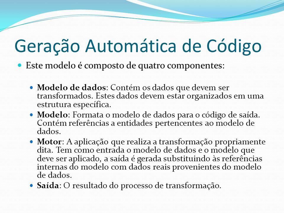 Geração Automática de Código Este modelo é composto de quatro componentes: Modelo de dados: Contém os dados que devem ser transformados. Estes dados d
