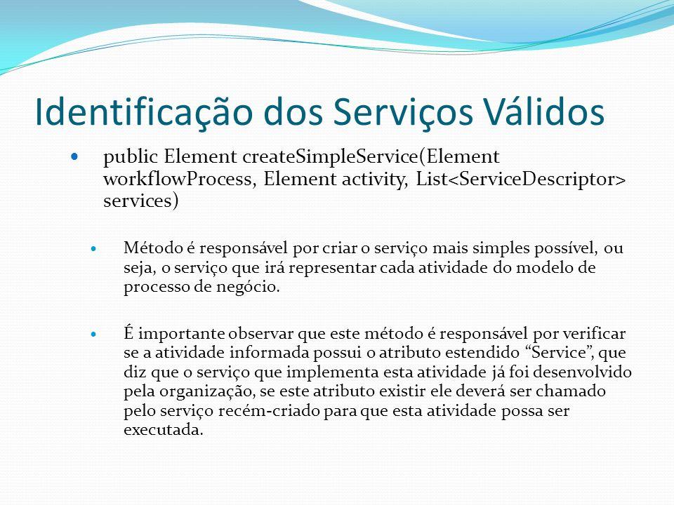 Identificação dos Serviços Válidos public Element createSimpleService(Element workflowProcess, Element activity, List services) Método é responsável p