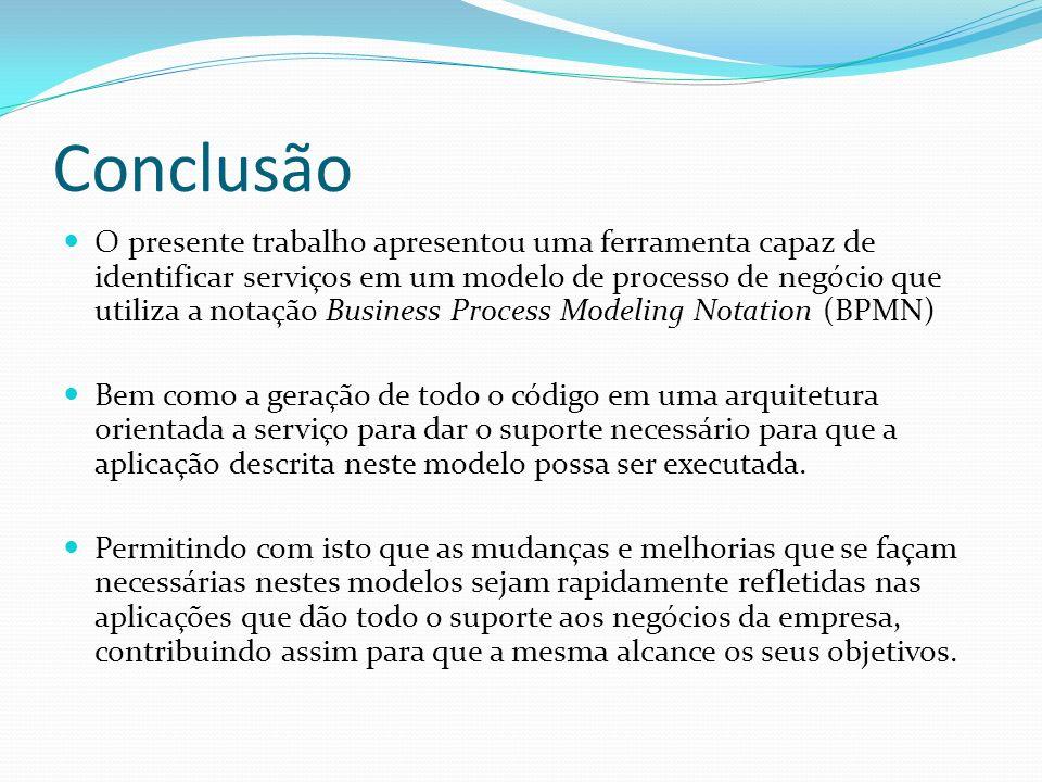 Conclusão O presente trabalho apresentou uma ferramenta capaz de identificar serviços em um modelo de processo de negócio que utiliza a notação Busine