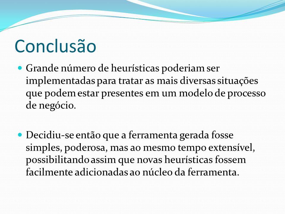 Conclusão Grande número de heurísticas poderiam ser implementadas para tratar as mais diversas situações que podem estar presentes em um modelo de pro