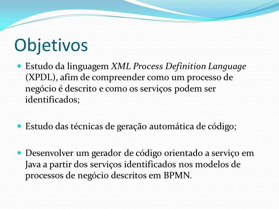 Objetivos Estudo da linguagem XML Process Definition Language (XPDL), afim de compreender como um processo de negócio é descrito e como os serviços po