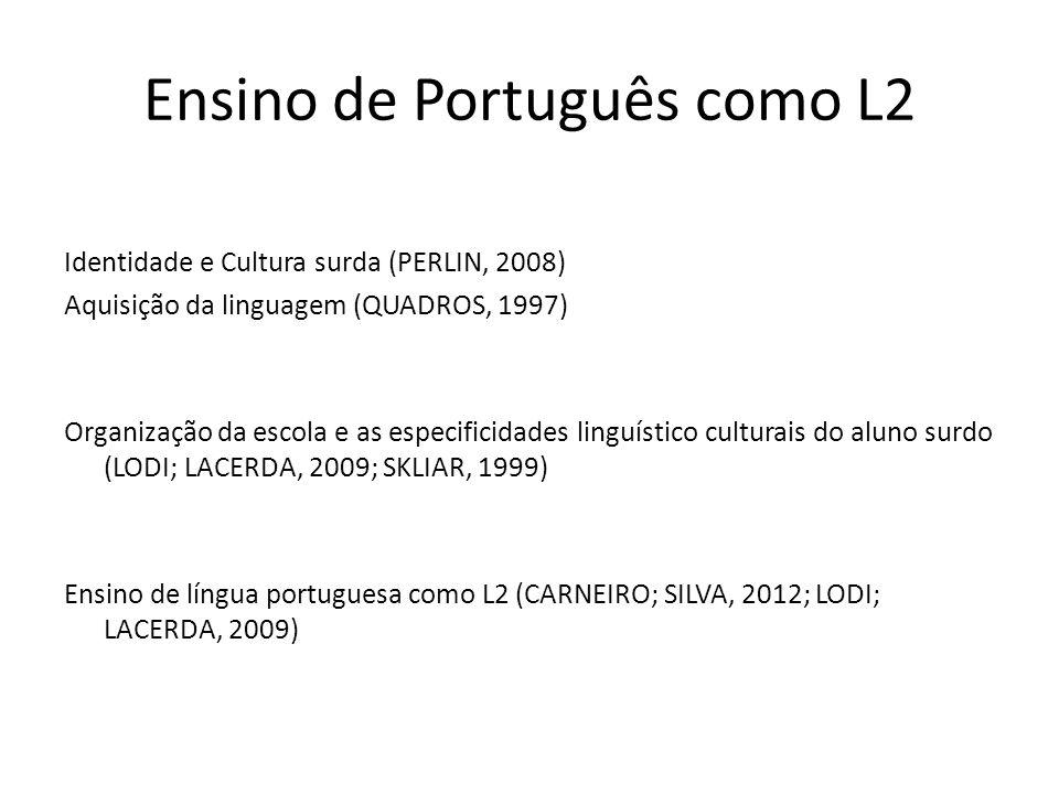 Ensino de Português como L2 Identidade e Cultura surda (PERLIN, 2008) Aquisição da linguagem (QUADROS, 1997) Organização da escola e as especificidade