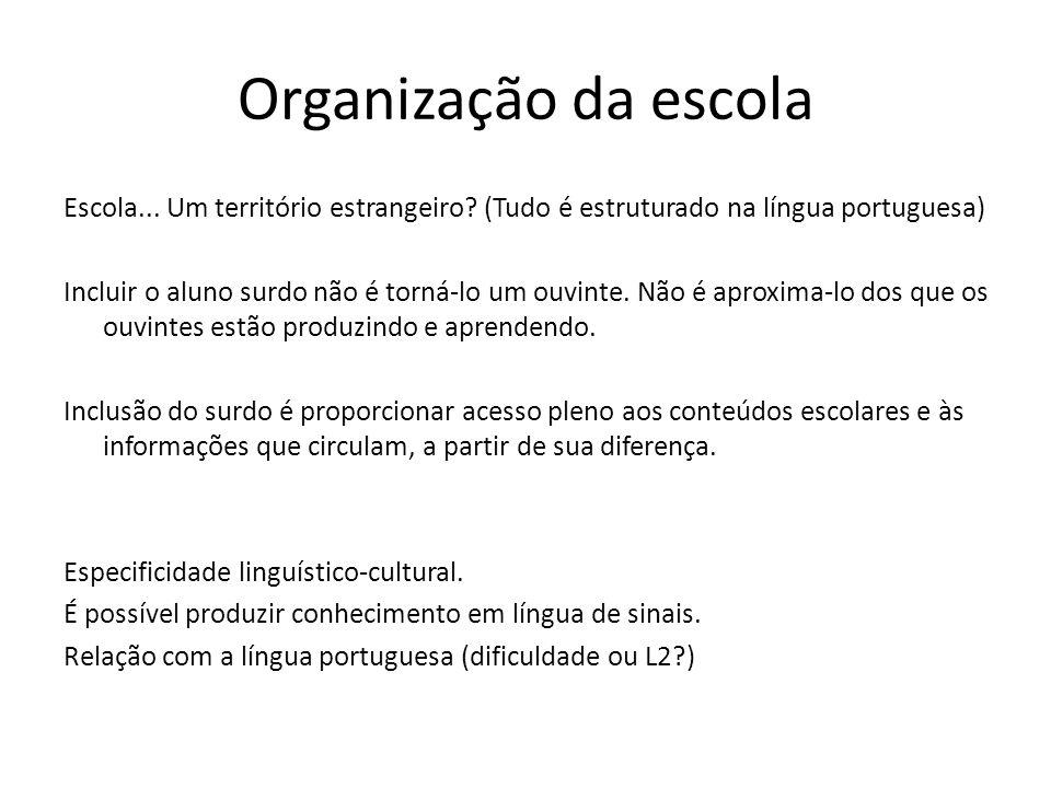 Organização da escola Escola... Um território estrangeiro? (Tudo é estruturado na língua portuguesa) Incluir o aluno surdo não é torná-lo um ouvinte.