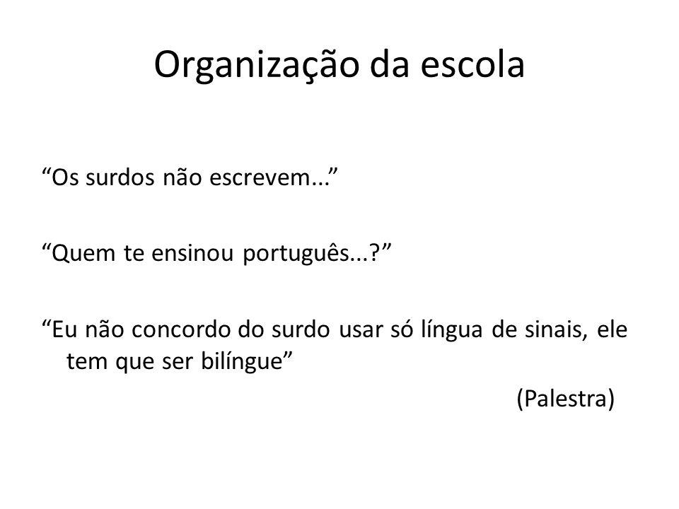 Organização da escola Os surdos não escrevem... Quem te ensinou português...? Eu não concordo do surdo usar só língua de sinais, ele tem que ser bilín