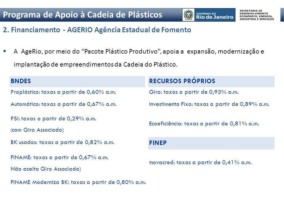 2. Financiamento - AGERIO Agência Estadual de Fomento A AgeRio, por meio do Pacote Plástico Produtivo, apoia a expansão, modernização e implantação de