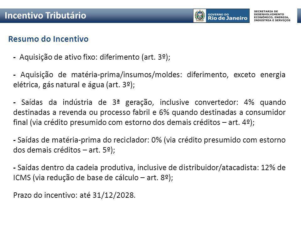 Resumo do Incentivo Incentivo Tributário - Aquisição de ativo fixo: diferimento (art. 3º); - Aquisição de matéria-prima/insumos/moldes: diferimento, e