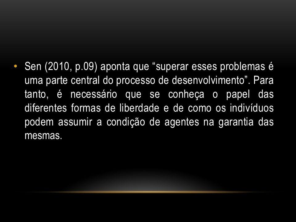 Sen (2010, p.09) aponta que superar esses problemas é uma parte central do processo de desenvolvimento. Para tanto, é necessário que se conheça o pape