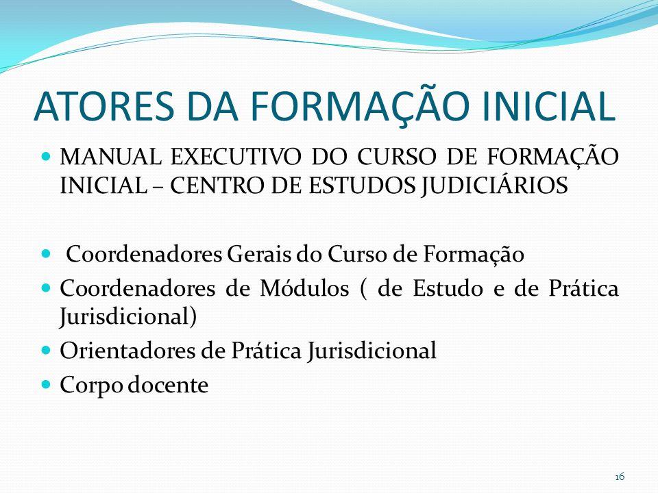 ATORES DA FORMAÇÃO INICIAL MANUAL EXECUTIVO DO CURSO DE FORMAÇÃO INICIAL – CENTRO DE ESTUDOS JUDICIÁRIOS Coordenadores Gerais do Curso de Formação Coordenadores de Módulos ( de Estudo e de Prática Jurisdicional) Orientadores de Prática Jurisdicional Corpo docente 16