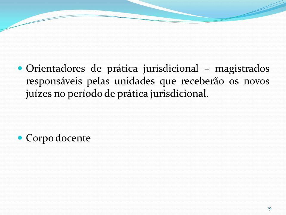 Orientadores de prática jurisdicional – magistrados responsáveis pelas unidades que receberão os novos juízes no período de prática jurisdicional.