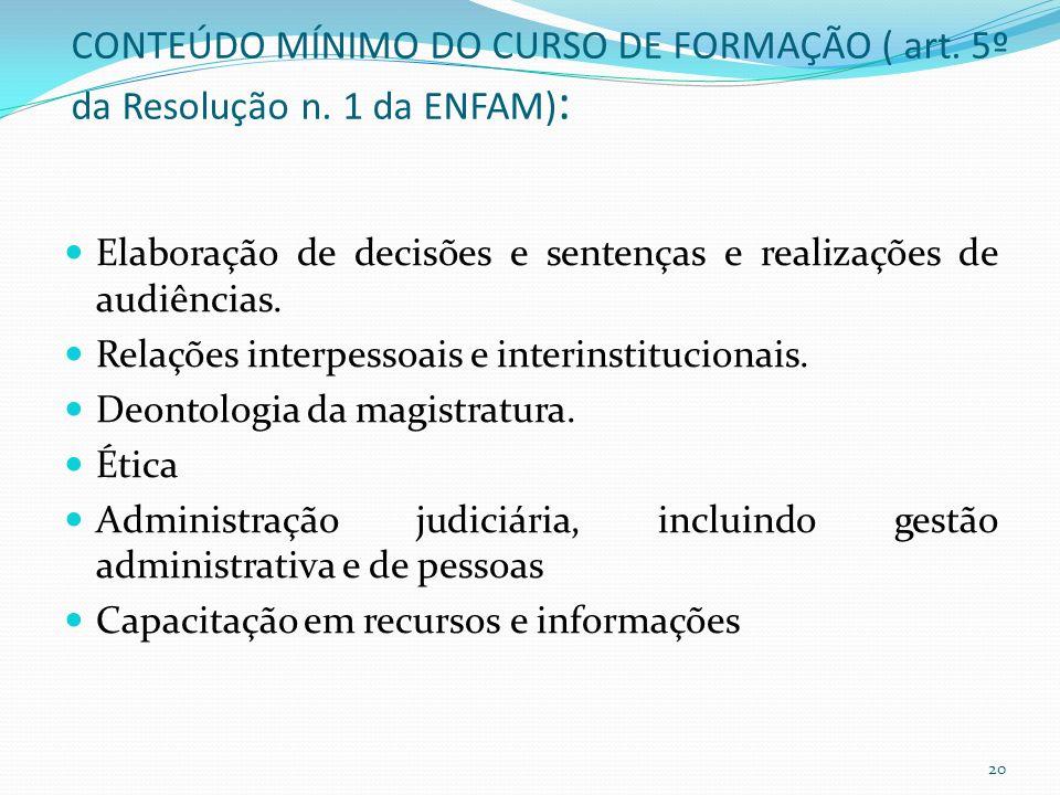 CONTEÚDO MÍNIMO DO CURSO DE FORMAÇÃO ( art.5º da Resolução n.