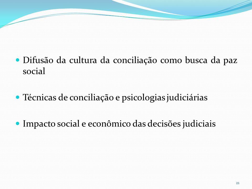 Difusão da cultura da conciliação como busca da paz social Técnicas de conciliação e psicologias judiciárias Impacto social e econômico das decisões judiciais 21