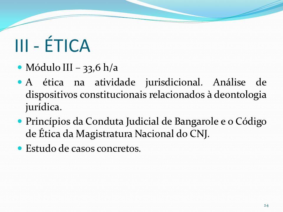 III - ÉTICA Módulo III – 33,6 h/a A ética na atividade jurisdicional.