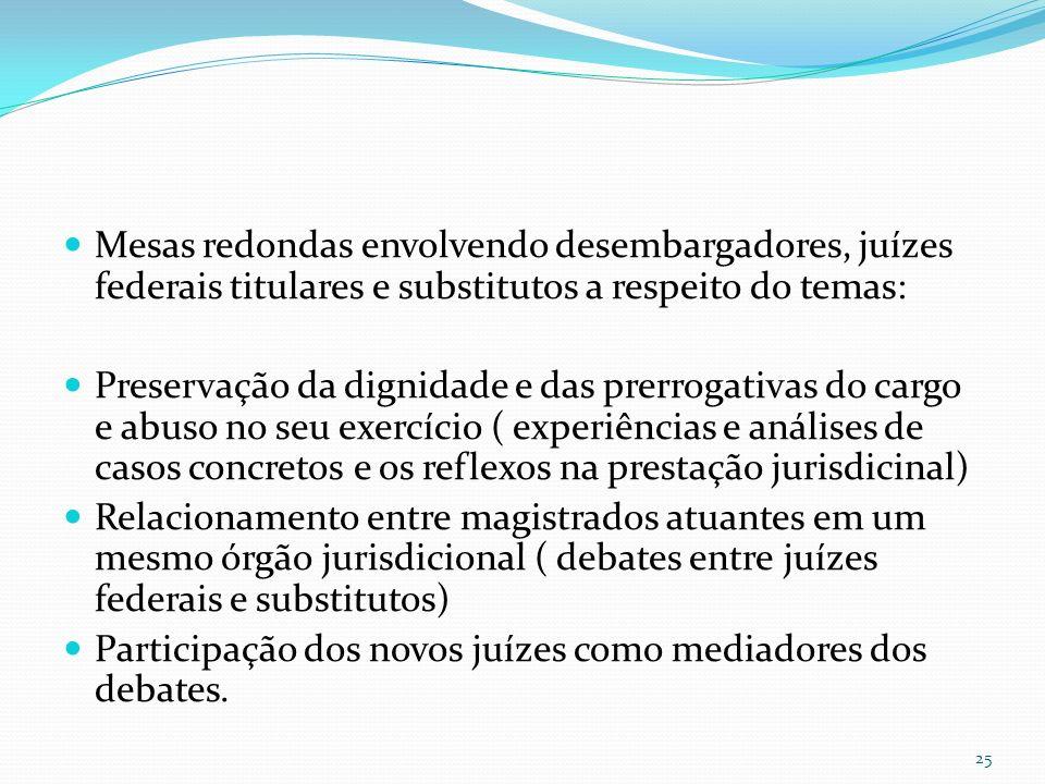 Mesas redondas envolvendo desembargadores, juízes federais titulares e substitutos a respeito do temas: Preservação da dignidade e das prerrogativas do cargo e abuso no seu exercício ( experiências e análises de casos concretos e os reflexos na prestação jurisdicinal) Relacionamento entre magistrados atuantes em um mesmo órgão jurisdicional ( debates entre juízes federais e substitutos) Participação dos novos juízes como mediadores dos debates.