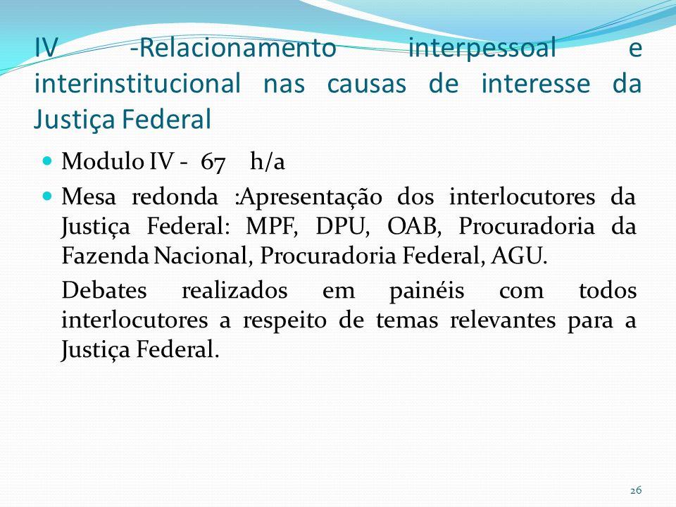 IV -Relacionamento interpessoal e interinstitucional nas causas de interesse da Justiça Federal Modulo IV - 67 h/a Mesa redonda :Apresentação dos interlocutores da Justiça Federal: MPF, DPU, OAB, Procuradoria da Fazenda Nacional, Procuradoria Federal, AGU.