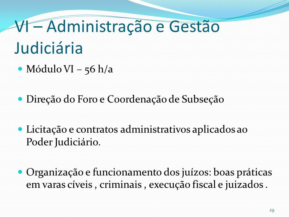 VI – Administração e Gestão Judiciária Módulo VI – 56 h/a Direção do Foro e Coordenação de Subseção Licitação e contratos administrativos aplicados ao Poder Judiciário.