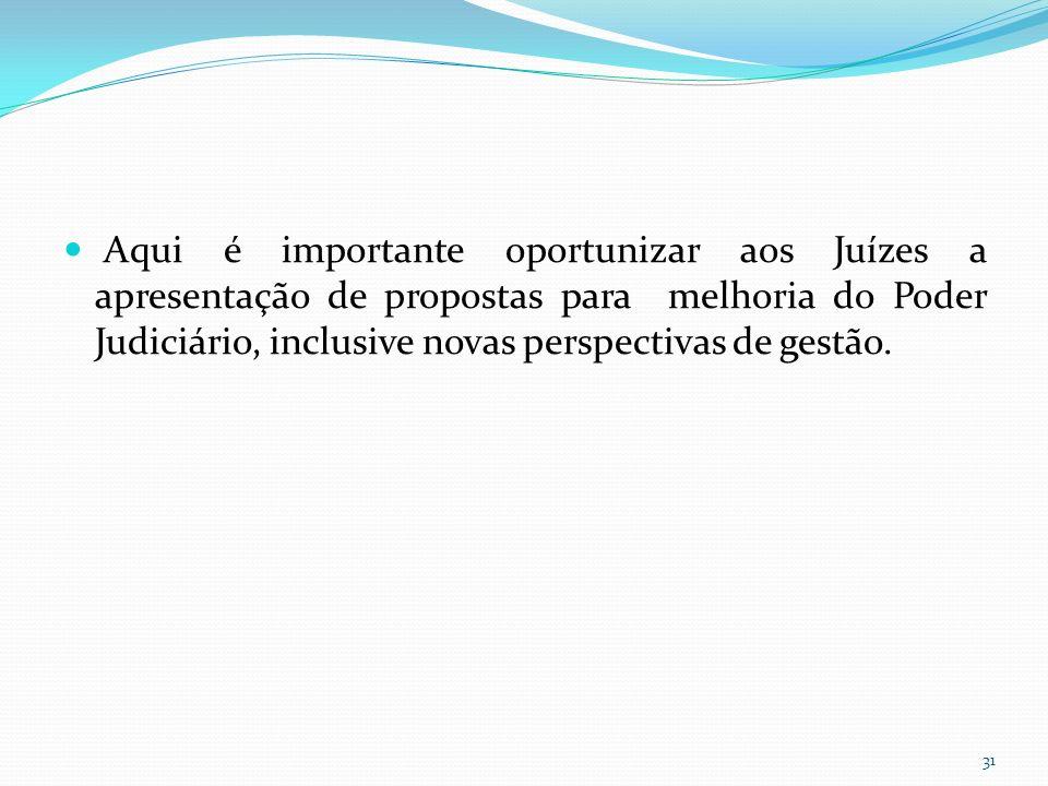 Aqui é importante oportunizar aos Juízes a apresentação de propostas para melhoria do Poder Judiciário, inclusive novas perspectivas de gestão.