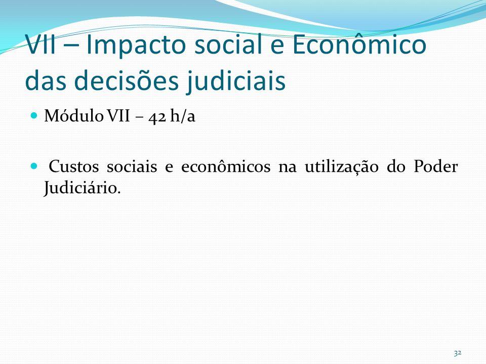 VII – Impacto social e Econômico das decisões judiciais Módulo VII – 42 h/a Custos sociais e econômicos na utilização do Poder Judiciário.