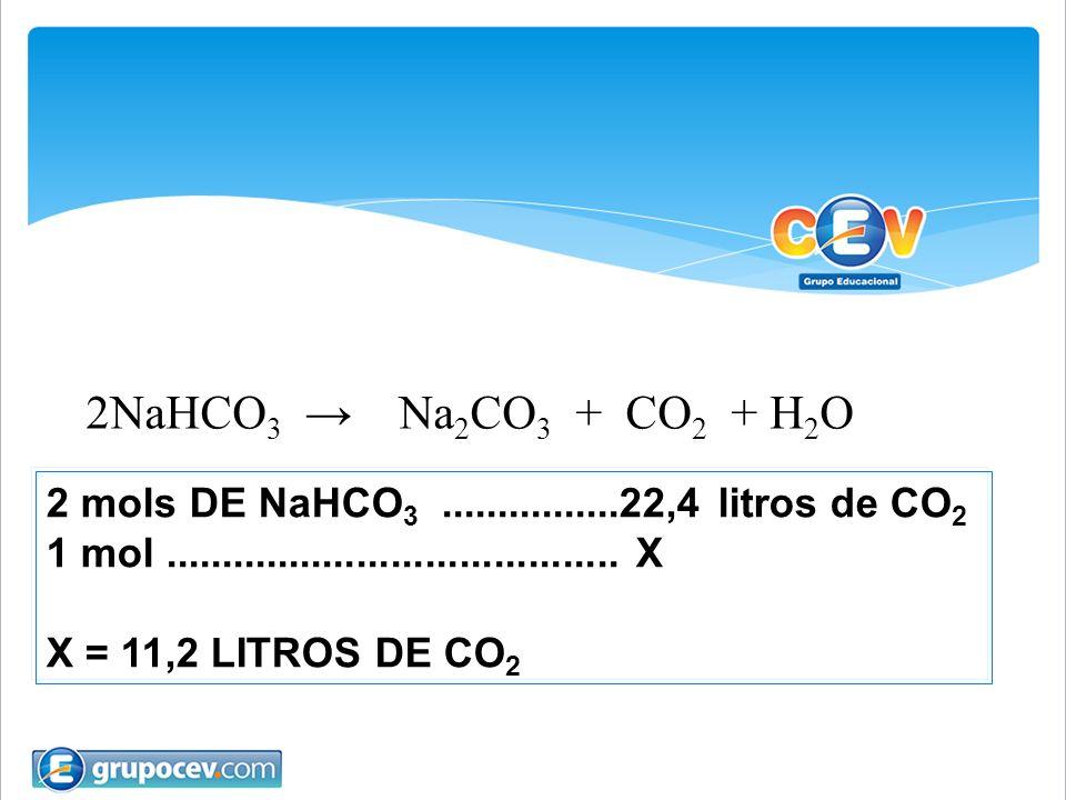 2 mols DE NaHCO 3................22,4 litros de CO 2 1 mol........................................