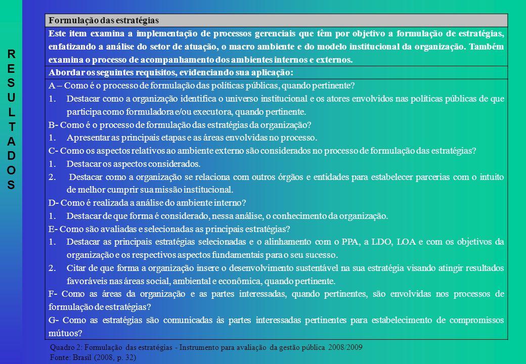 Formulação das estratégias Este item examina a implementação de processos gerenciais que têm por objetivo a formulação de estratégias, enfatizando a a