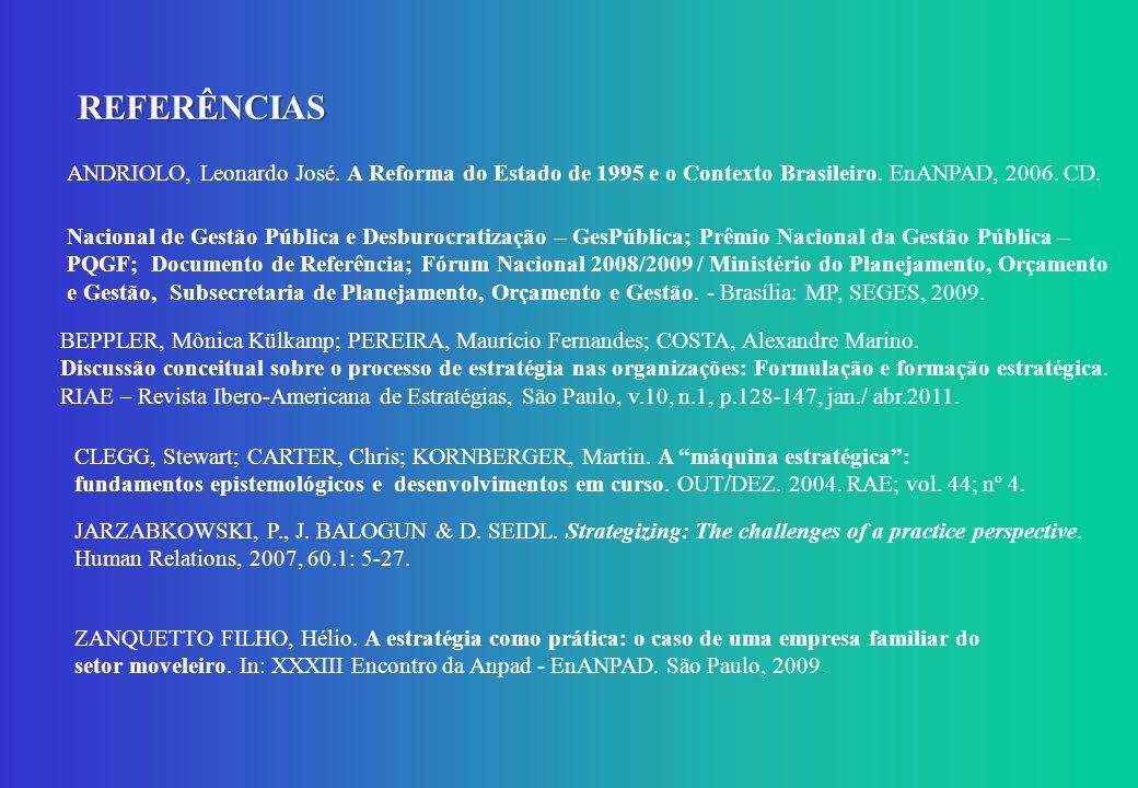 REFERÊNCIAS ANDRIOLO, Leonardo José. A Reforma do Estado de 1995 e o Contexto Brasileiro. EnANPAD, 2006. CD. Nacional de Gestão Pública e Desburocrati