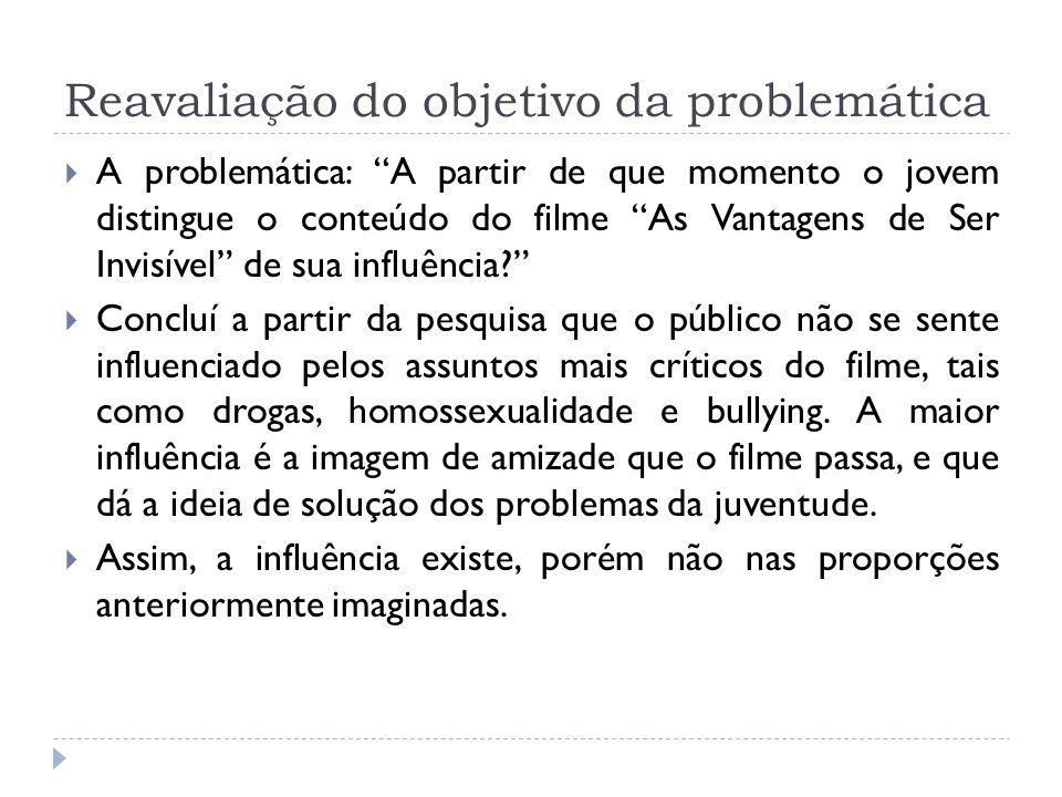 Reavaliação do objetivo da problemática A problemática: A partir de que momento o jovem distingue o conteúdo do filme As Vantagens de Ser Invisível de