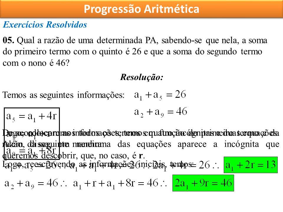 Progressão Aritmética Exercícios Resolvidos 05.
