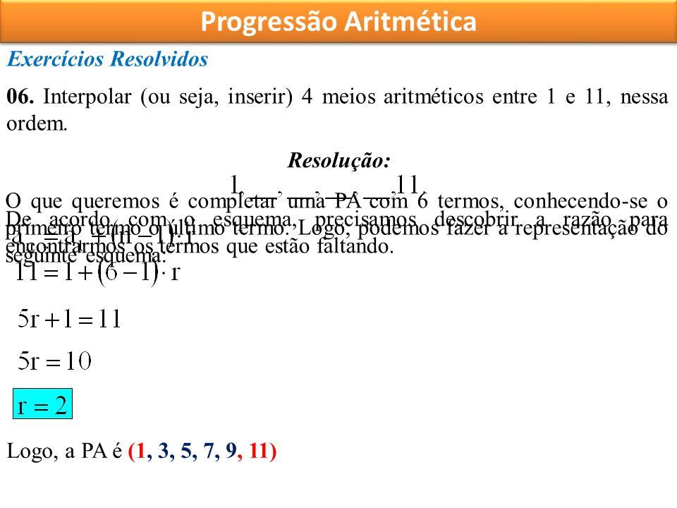 Progressão Aritmética Exercícios Resolvidos 06.